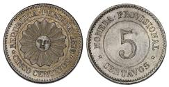 World Coins - Peru. Provisional Government. CU-NI 5 Centavos 1879. XF/ AU