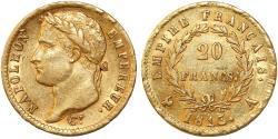 World Coins - France. Napoleon Bonaparte (1804-1814). AV 20 Francs 1813A. Choice XF