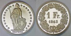 World Coins - Switzerland. Federation. AR 1 Franc 1943 B. PROOF- PCGS SP67!