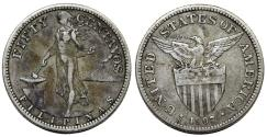 World Coins - Philippines. USA administration. AR 50 Centavos 1907 S. XF