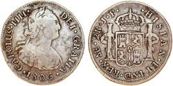 World Coins - Peru as Spanish Colony. Carlos IV (1788-1808 ). AR 2 Reales 1806 JP. About VF.