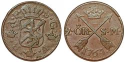 World Coins - Sweden. King Adolf Frederic (1751-1771) Copper 2 Ore 1764. Good VF