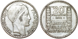 World Coins - France. Republic. Silver 20 Francs 1933. XF