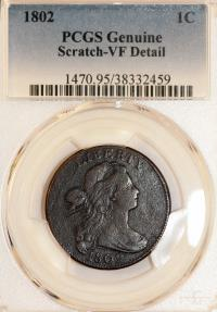 US Coins - USA: Draped Bust Cent 1802. PCGS VF Details