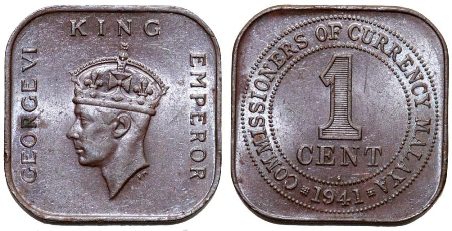 British Colony: Malaya  King George VI  Bronze Square 1 Cent 1941  AU+