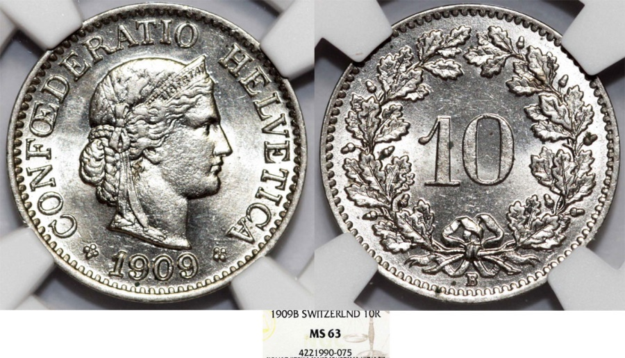 World Coins - Switzerland. Federation issue. CU-NI 10 Rappen 1909B. NGC MS63