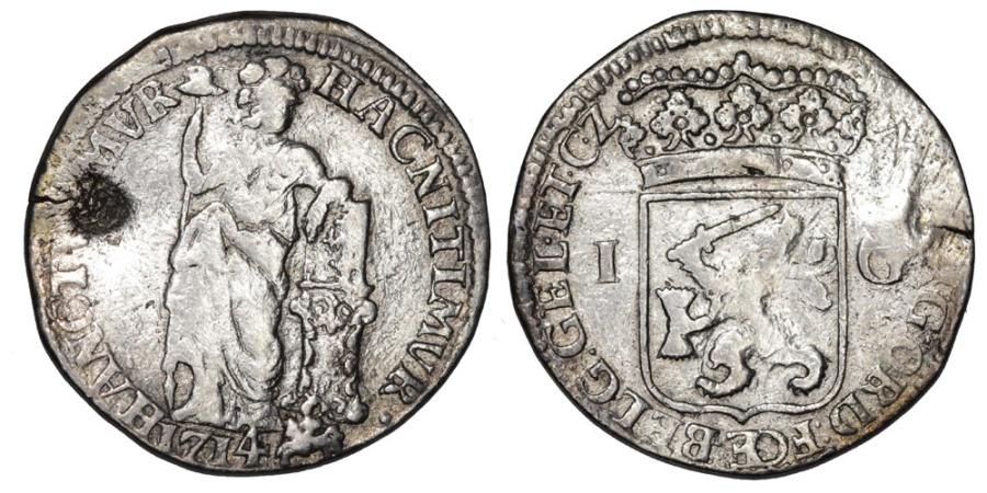 World Coins - Netherlands. Gelderland. AR 1 Gulden 1714 with C/M of Utrecht. Fine+