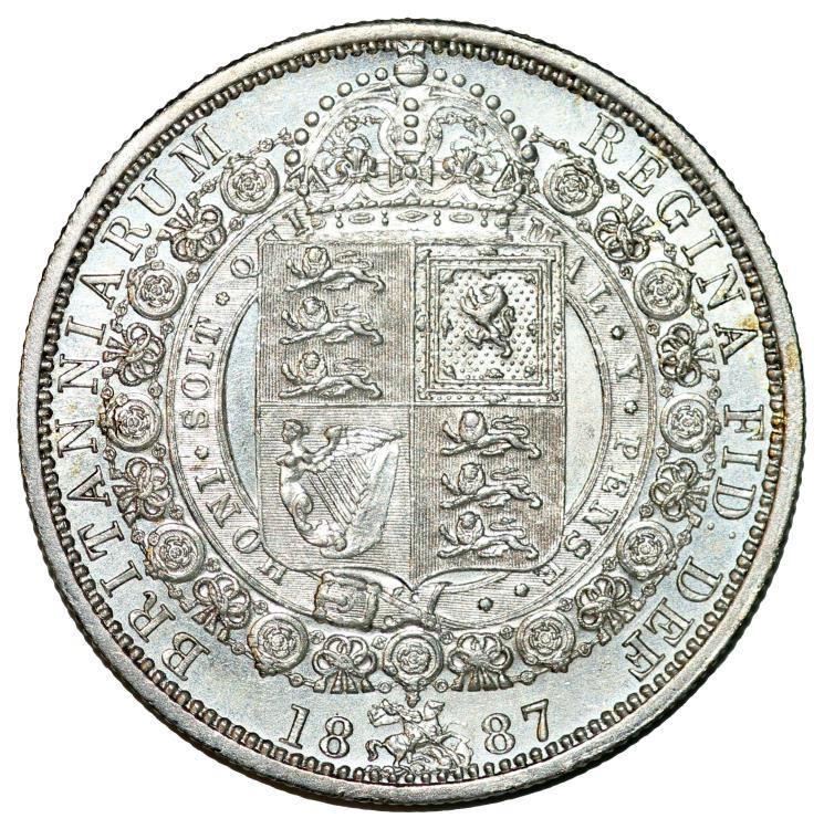 Great Britain  Queen Victoria (1837-1901) AR Nice Half Crown 1887  UNC