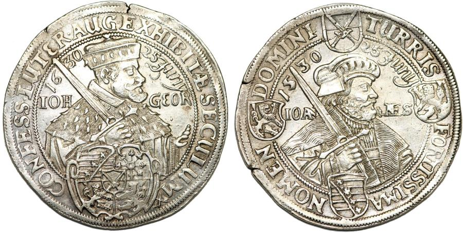 World Coins - GERMANY: Saxony. Johann Georg I (1615-1656). AR Reichstaler 1630. Commemorating the 100th Anniversary of the Augsburg Confession
