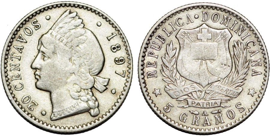 World Coins - Dominican Republic. AR 20 Centavos 1897. XF.