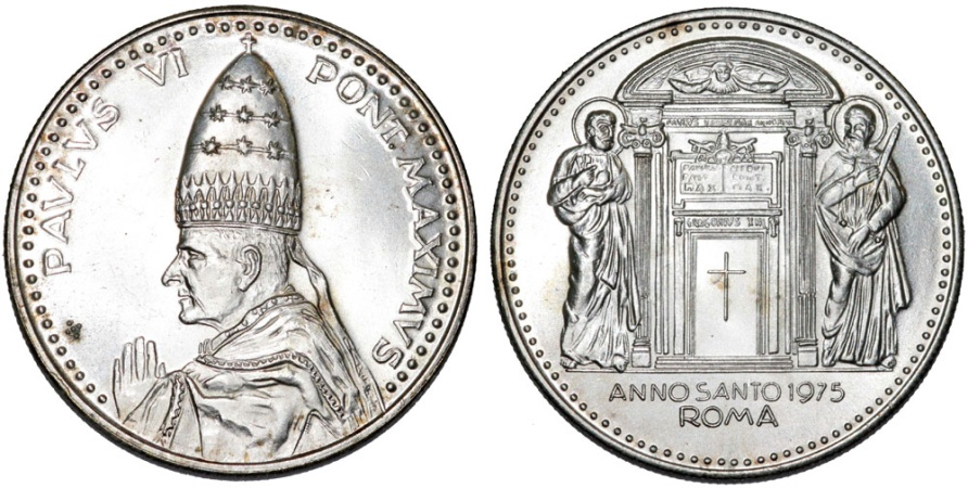 "World Coins - Vatican City. Pope Paul VI (1963-1975). AR Medal ""Holly Year"" AN II (1975). UNC"