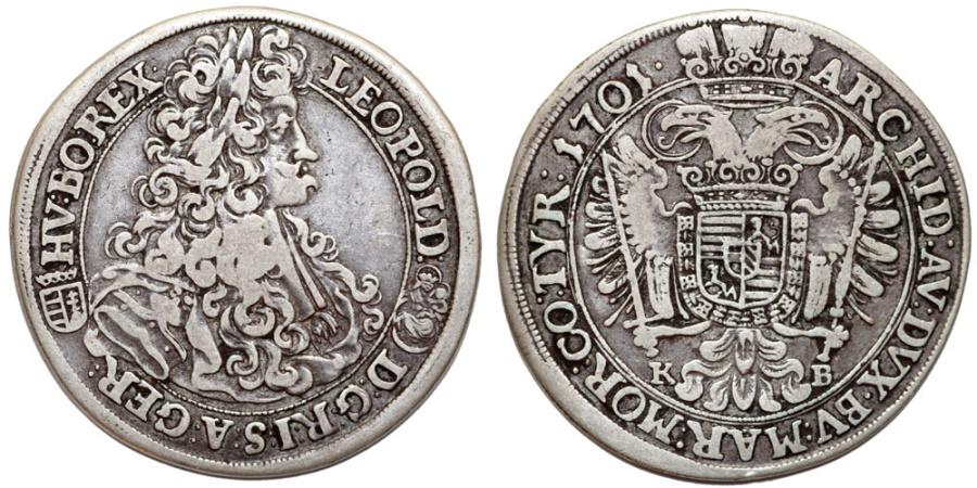 World Coins - H.R.E. Hungary. Leopold I (1657-1705) Silver 1/2 Taler 1701 KB. Good VF