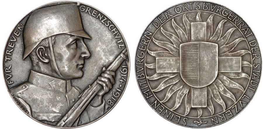 World Coins - Switzerland. Commemorative War AR45 Medal (ca. 1920) by Hans Frei. Nice AU.