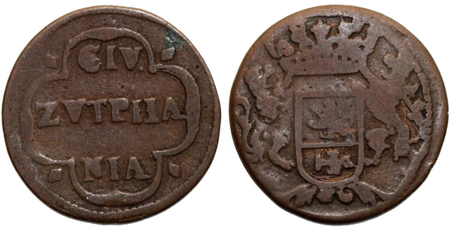 World Coins - Netherlands. Provinical - Gelderland Duchy. City of Zuphen. Cu Duit 1687 . Fine+