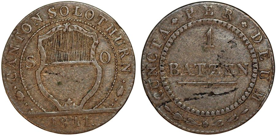 World Coins - Swiss Cantons. Solothurn. Bi 1 Batzen 1811. VF, toned