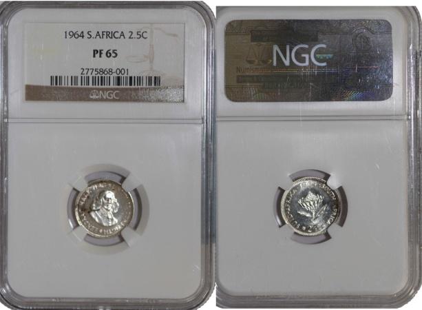 World Coins - South Africa. AR 2 1/2 Cents 1964. PF 65