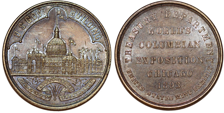 World Coins - USA. 1893 World Columbian Exposition So-Called Dollar HK-154, Official Medal. XF