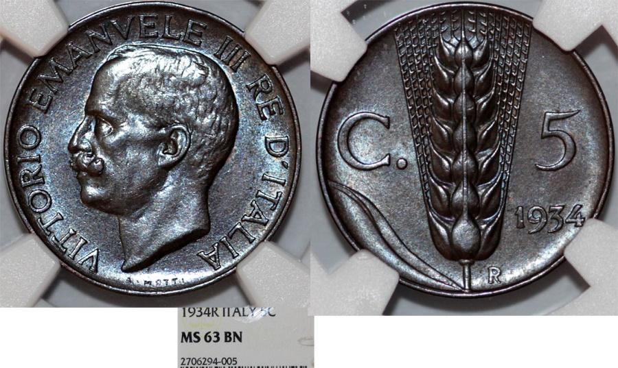 World Coins - Italy. Vittorio Emanuele III. BRZ 5 Centesimos 1934. NGC MS63 BN