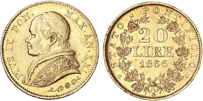 World Coins - ITALY, Papal States. Pius IX (1846-1878). Gold 20 Lire 1866 B. XF/AU.
