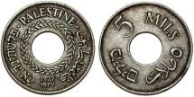 British Administration. Palestine. CuNi 5 Mils 1927. XF