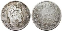 World Coins - France. king Louis Philippe (1830-1848). Silver 5 Francs 1844 W. Fine+