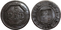 World Coins - Swiss Cantons. Freidburg. 5 Rappen 1806. Good VF