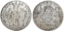 World Coins - PERU. Provisional Coinage. Republic. 1822-. AR 8 Reales 1823. JP. Toned VF, RARE!