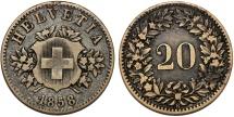 World Coins - Switzerland. Federation. BI 20 Rappen 1850BB. Choice VF, first date issue