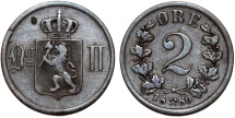 World Coins - Norway. Sweden Rule. Oscar II (1872-1907). AE 2 Ore 1889. VF+