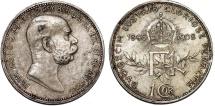 World Coins - Austria. Franz Joseph I. AR 1 Corona 1908. AU+