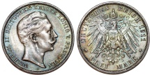 World Coins - Germany Empire. Prussia. Wilhelm II (1888-1918). Silver 3 Mark 1911 A. Toned Choice XF