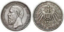 World Coins - Germany. Imperial Period. Baden. Friedrich I (1856-1907). Silver 5 Mark 1895 G. Toned XF