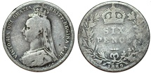World Coins - Great Britain. Victoria. AR 6 Pence 1889. VG
