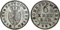 World Coins - GERMANY, Hessen (Großherzogtum). Ludwig I. 1806-1830. AR 6 Kreuzer 1828. Fine+