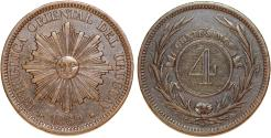 World Coins - Uruguay. Republic. Bronze 4 Centesimo 1869-H. Choice XF