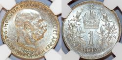 World Coins - Austria. Franz I Josef (1848-1916). Silver Corona 1915. NGC AU58.