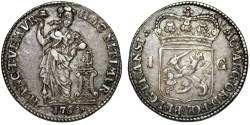 World Coins - Netherlands. Overijssel. AR 1 Gulden 1765. XF, toned.