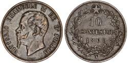 World Coins - Italy. Kingdom. Vittorio Emanuele II. AR 10 Centesimi 1866 N. XF