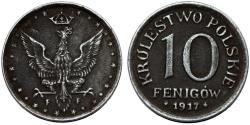 World Coins - Kingdom of Poland Under Germany. FE 10 Pfennig 1917FF. Nice XF