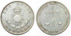 World Coins - British West Africa. Kenya- Mombasa. Queen Victoria. AR Rupee 1888 H. Choice VF
