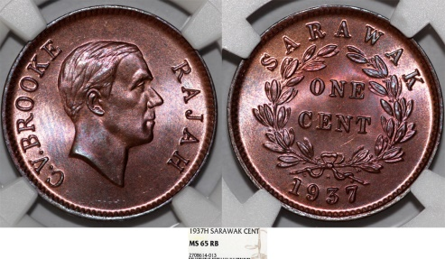 World Coins - Sarawak (North-West Borneo). Charles V Brooke (1917-1946). AE Cent 1937. NGC MS65RB!
