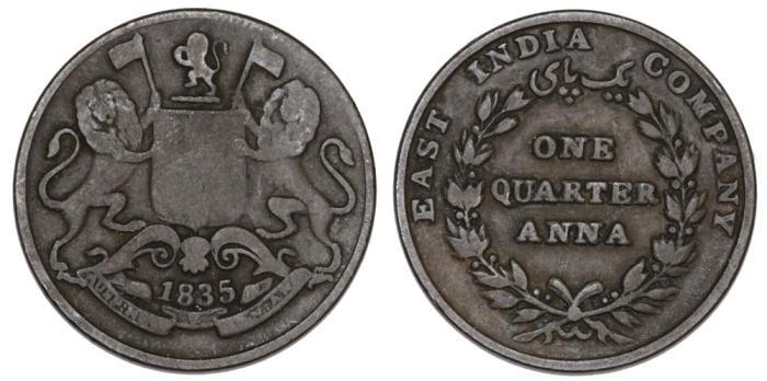 Afbeeldingsresultaat voor 1/4 anna 1835