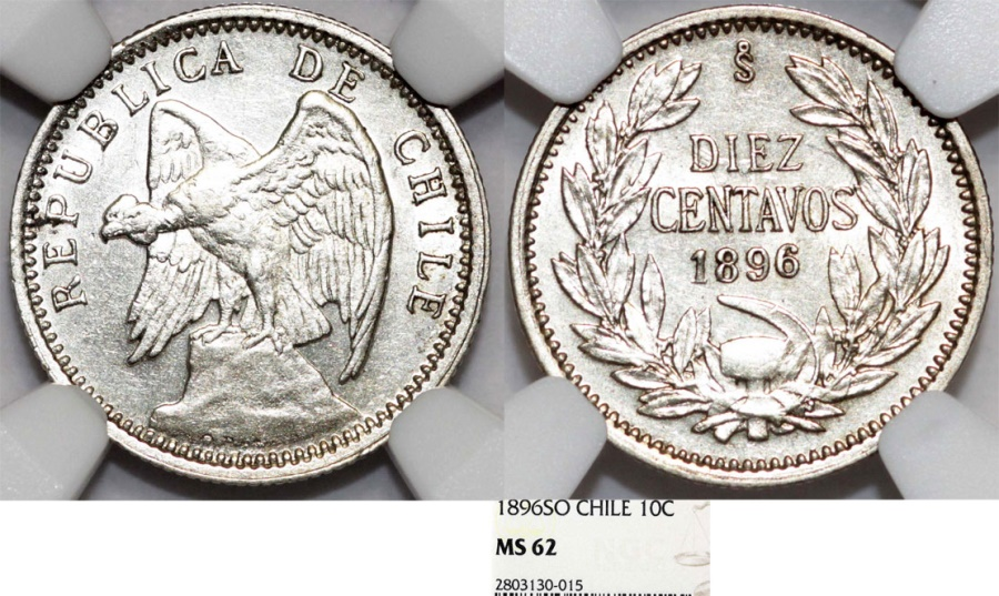 World Coins - Chile. Republic. Silver 10 Centavos 1896 So. NGC MS62