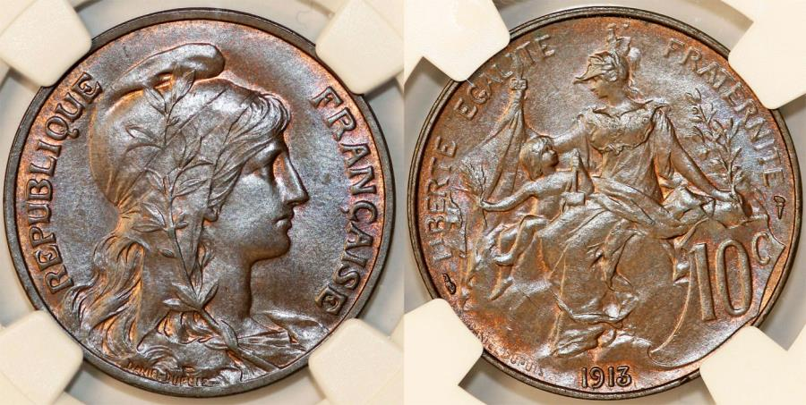 World Coins - France. Republic. BRZ 10 Centimes Marianne 1913. NGC MS65 BN!
