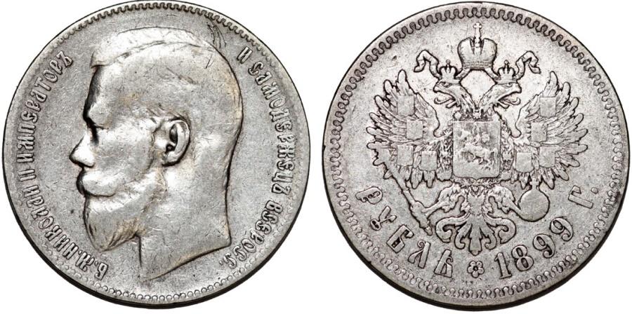 World Coins - Imperial Russia. Nicholas II (1894-1917). Silver Ruble 1899 **. VF.