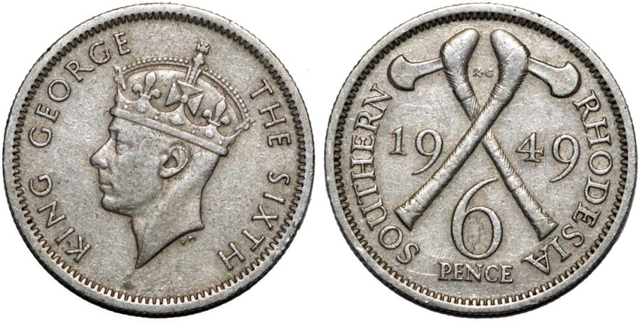 World Coins - Southern Rhodesia as British Colony. King George VI. CuNi 6 Pence 1949. Nice XF, toned