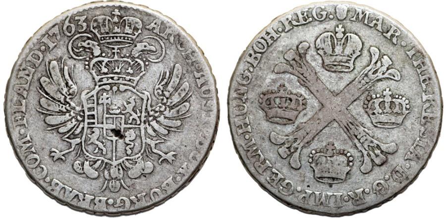 World Coins - Austrian Netherlands. Brugges. M. Theresa (1740-1780). Silver Half Kronenthaler 1763. VF