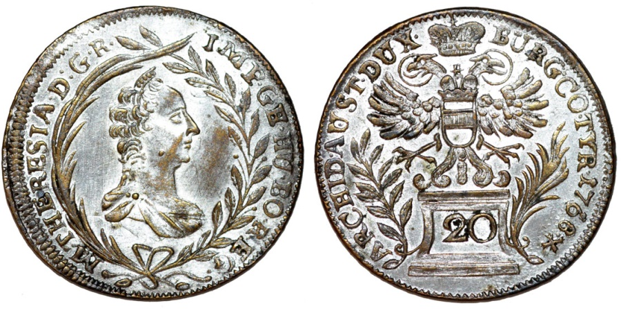 World Coins - H.R.E. Austria. M. Theresa (1740-1780). AR 20 Kreuzer 1768.  Nice Choice XF