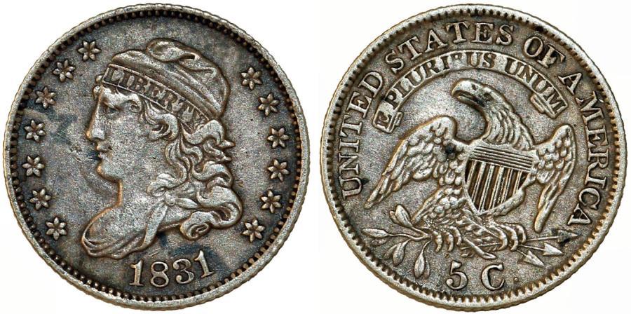 US Coins - USA. Early Half Dime 1831. Good VF