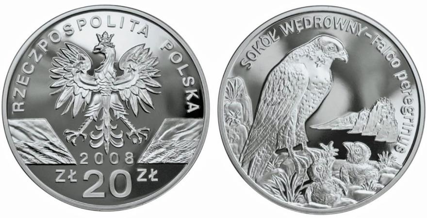 """World Coins - Poland. III Republic. AR 20 zloty """"Falcon"""" 2008. BU"""